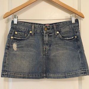 7 For All Mankind Distressed Denim Skirt 26